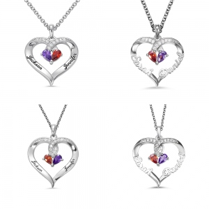 Forever Together Birthstone Name Heart Necklace Silver